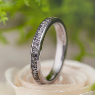 Women's Deer Antler Wedding Band In Titanium-3439 - Jewelry by Johan