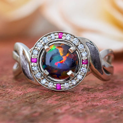 Opal Engagement Ring with Meteorite