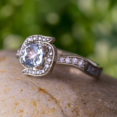 Aquamarine Engagement Ring, Custom Diamond Ring-3464 - Jewelry by Johan