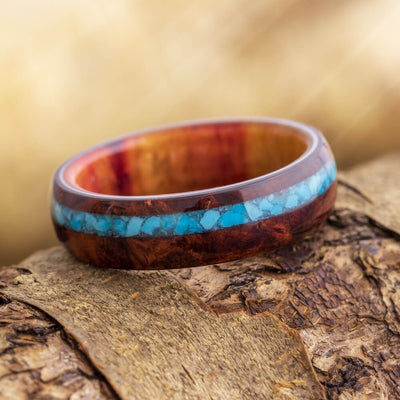 Natural Wood Wedding Band With A Crushed Turquoise Pinstripe-3466 - Jewelry by Johan