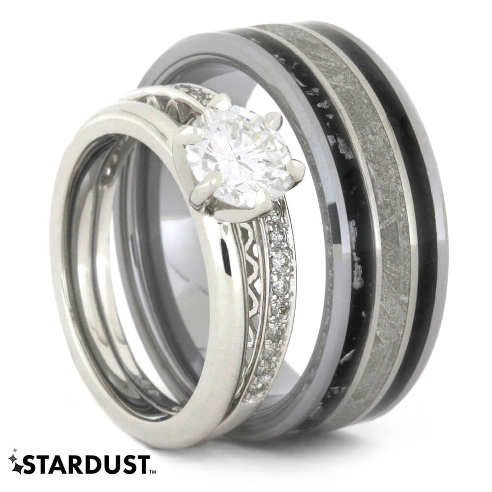 Diamond Engagement Ring Set With Stardust Wedding Band