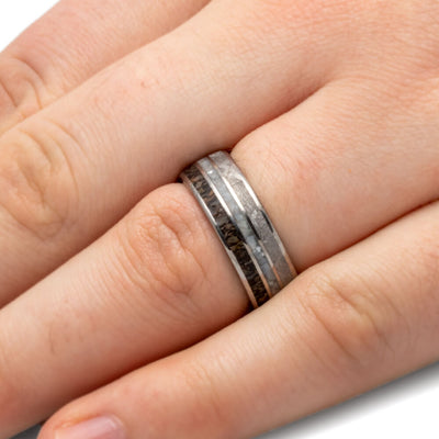 Mother of Pearl Wedding Band, Men's Meteorite Ring With Dinosaur Bone-3497 - Jewelry by Johan
