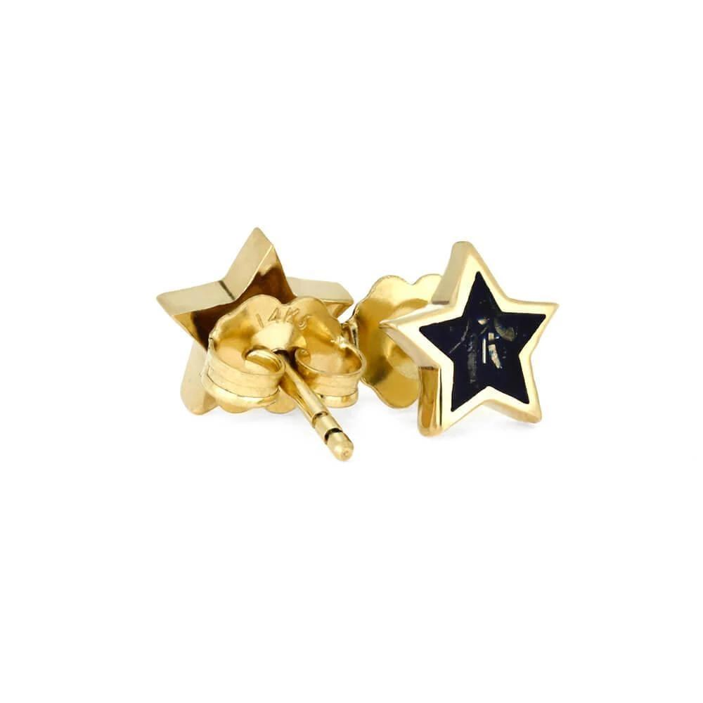 Black Stardust™ Stud Earrings In Yellow Gold-3522-BK - Jewelry by Johan