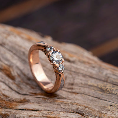 Three Stone Engagement Ring With Moissanite in Rose Gold, Meteorite Ring-3546 - Jewelry by Johan