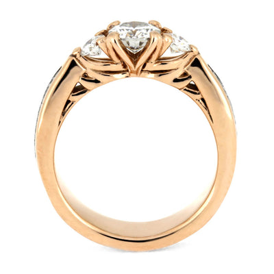 Three Stone Engagement Ring With Moissanite in Rose Gold, Meteorite Ring