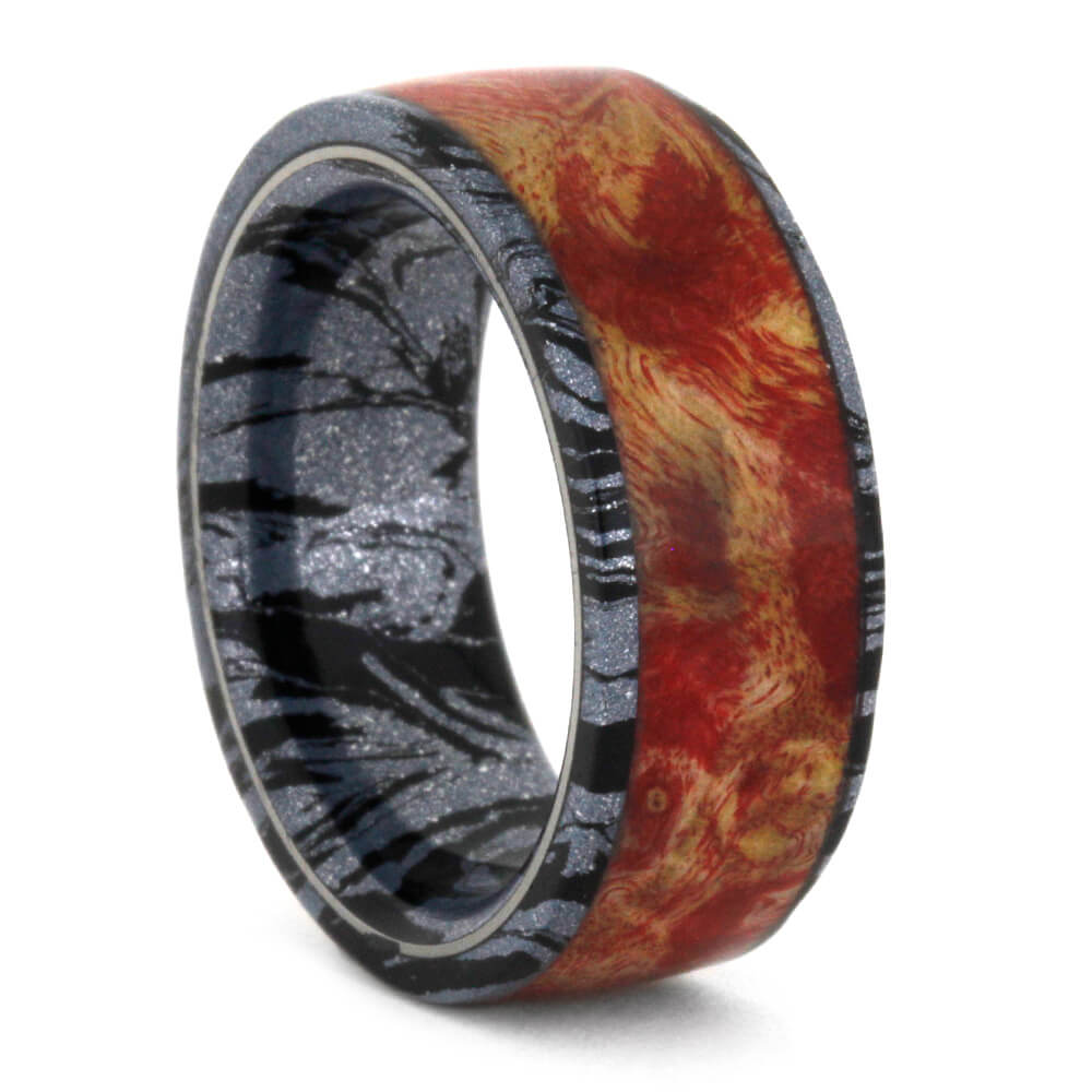Red Box Elder Burl Wedding Band, Cobaltium Mokume Ring-3553