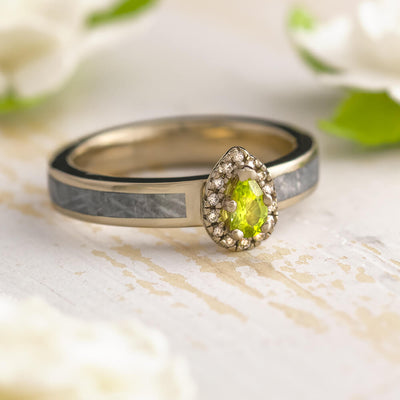 Green Birthstone Engagement Ring With Meteorite