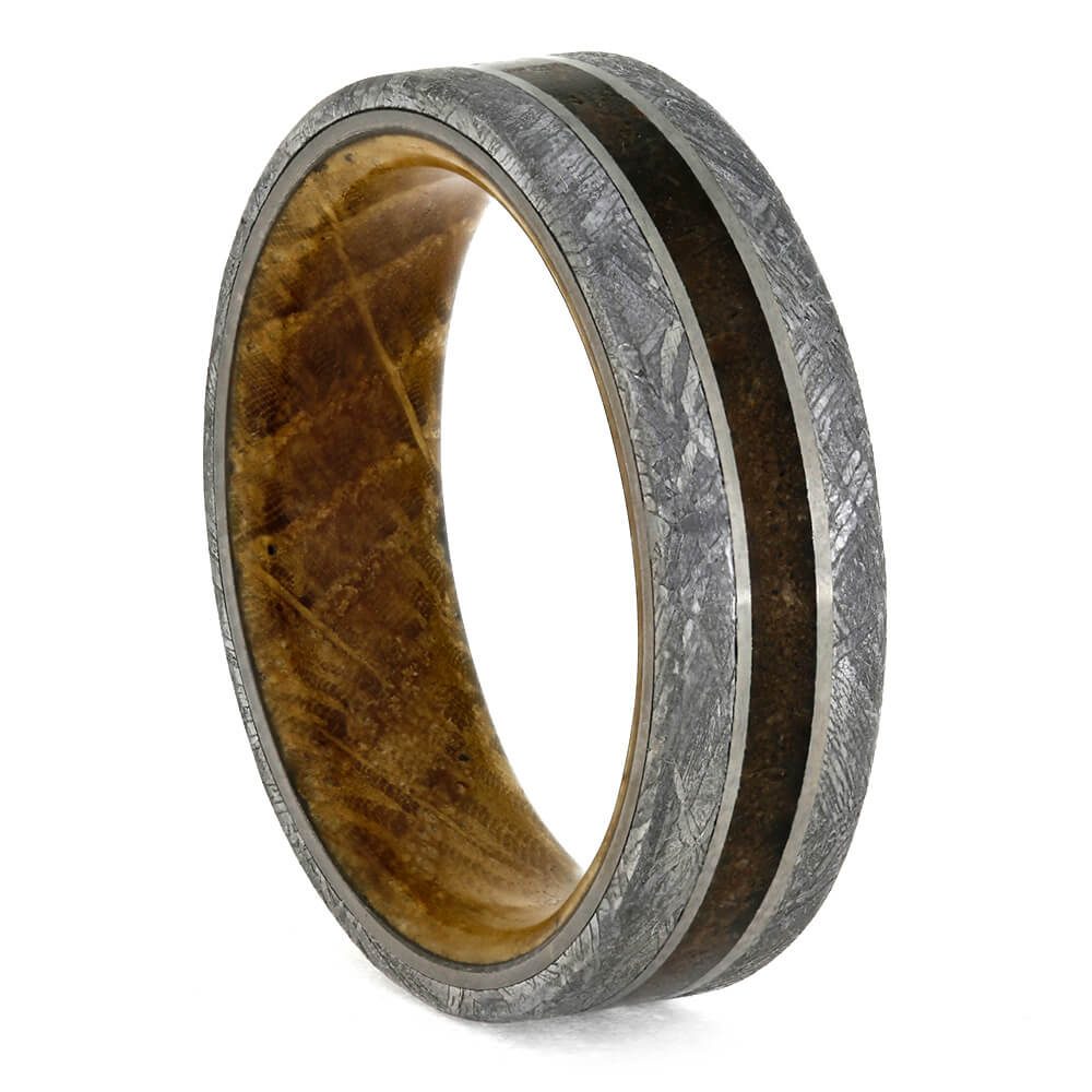 Whiskey Barrel Wood and Meteorite Men's Wedding Band