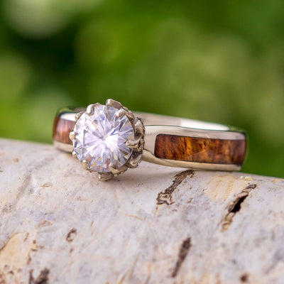 Lotus Flower Engagement Ring With Moissanite And Rosewood Band