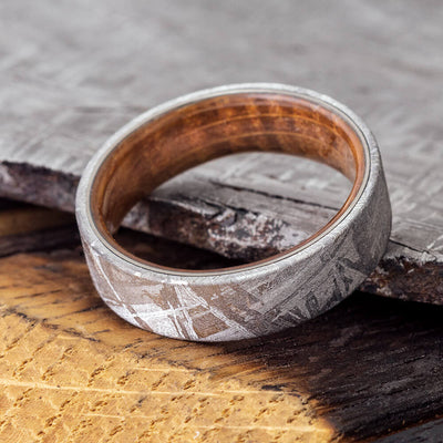 Meteorite Men's Wedding Band With Whiskey Barrel Wood Sleeve-3622 - Jewelry by Johan
