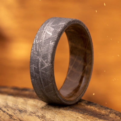 Authentic Meteorite and Wood Ring