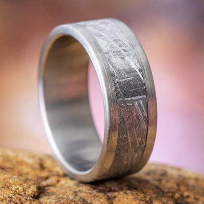 Brushed Titanium Men's Wedding Band With Gibeon Meteorite-3631 - Jewelry by Johan