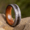 Dinosaur Bone Men's Ring With Meteorite, Kauri Wood Sleeve-3639 - Jewelry by Johan