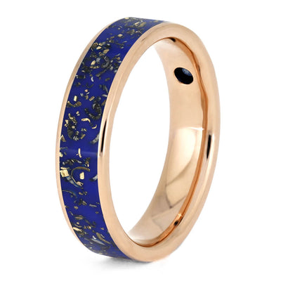 Rose Gold Blue Sapphire Ring With Blue Stardust™ Inlay-3642 - Jewelry by Johan