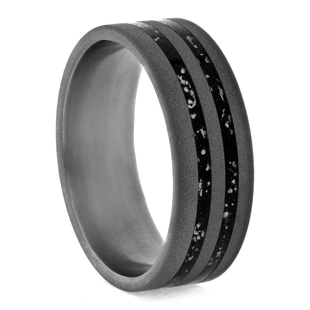 Sandblasted Titanium Wedding Band With Black Stardust™-3673 - Jewelry by Johan