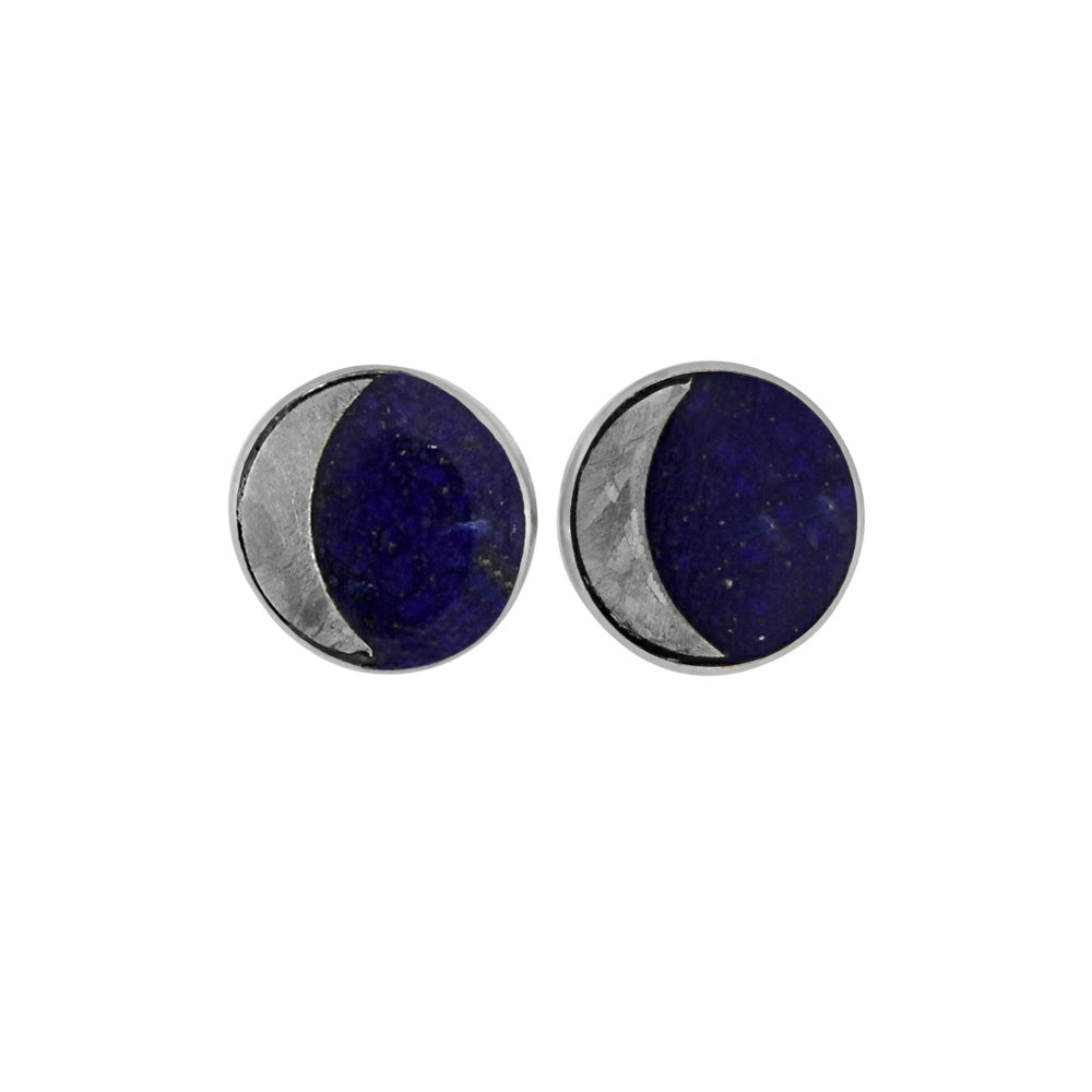 Lapis Lazuli Earrings with Meteorite Moon in Sterling Silver
