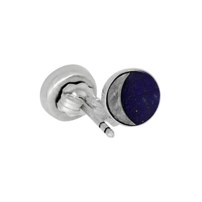 Starry Night Earrings, Lapis Lazuli And Gibeon Meteorite Stud Earrings In Sterling Silver-3679