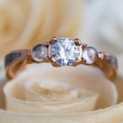 Rose Gold Engagement Ring With Meteorite, Moissanite, And Moonstones-3721 - Jewelry by Johan