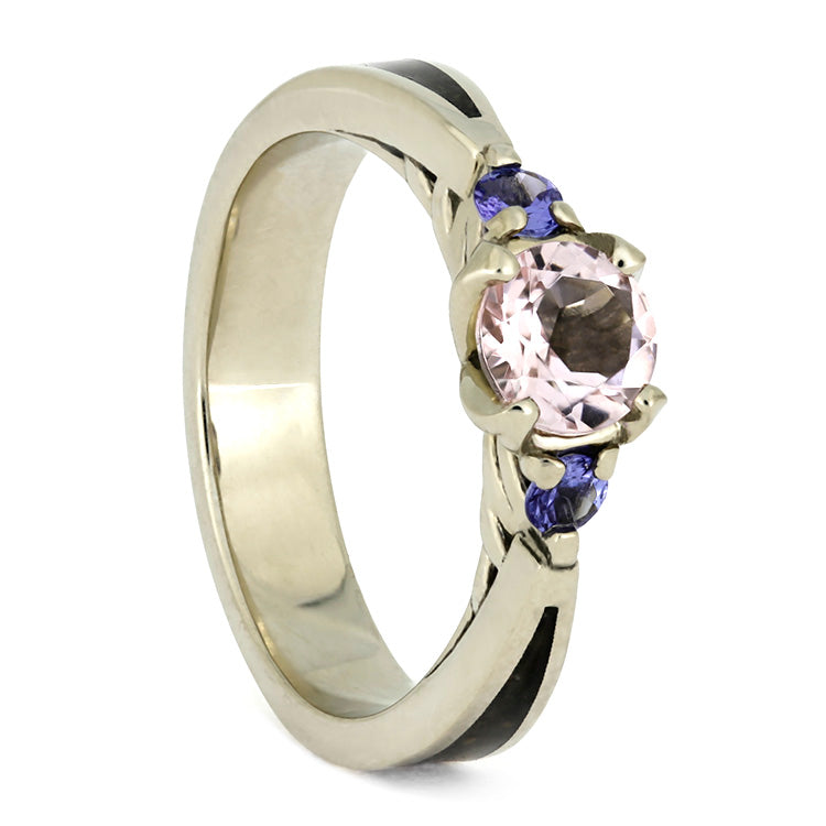 Morganite and Tanzanite Engagement Ring With Dinosaur Bone-3731 - Jewelry by Johan