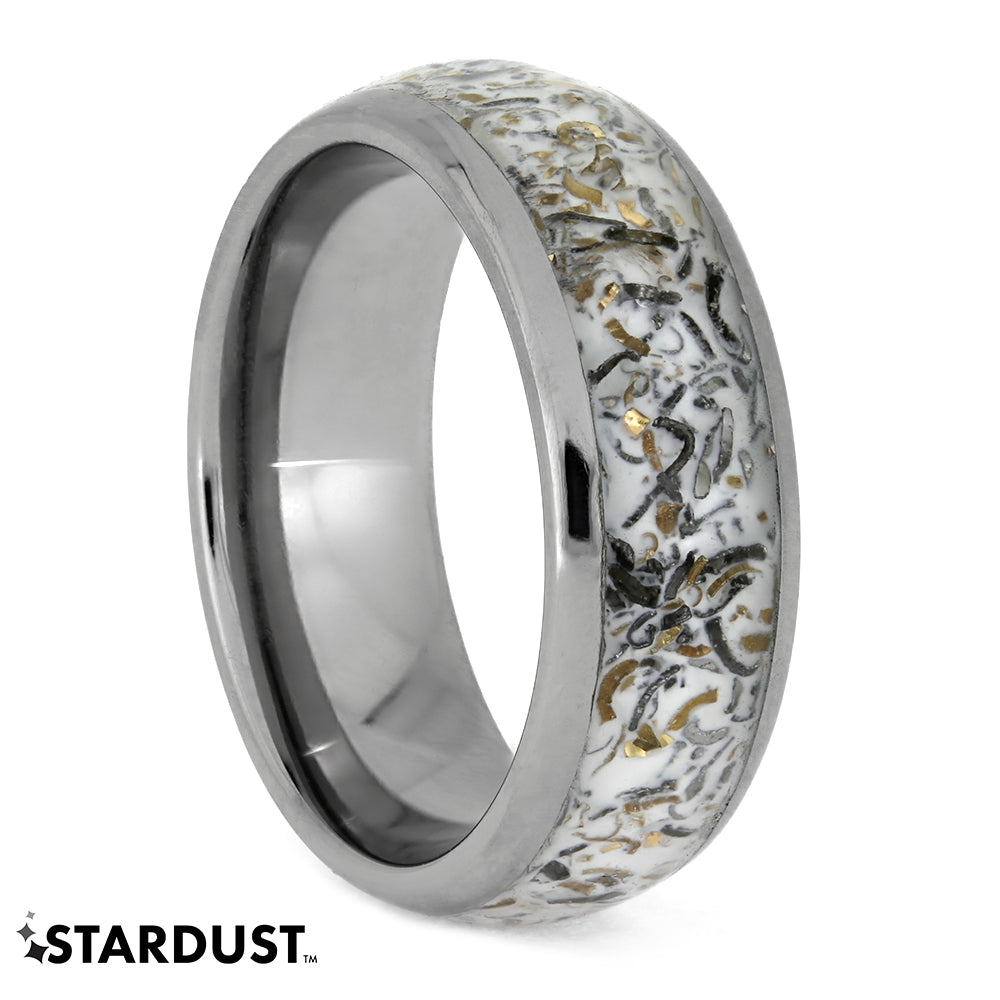 White Stardust Ring With Meteorite In Titanium