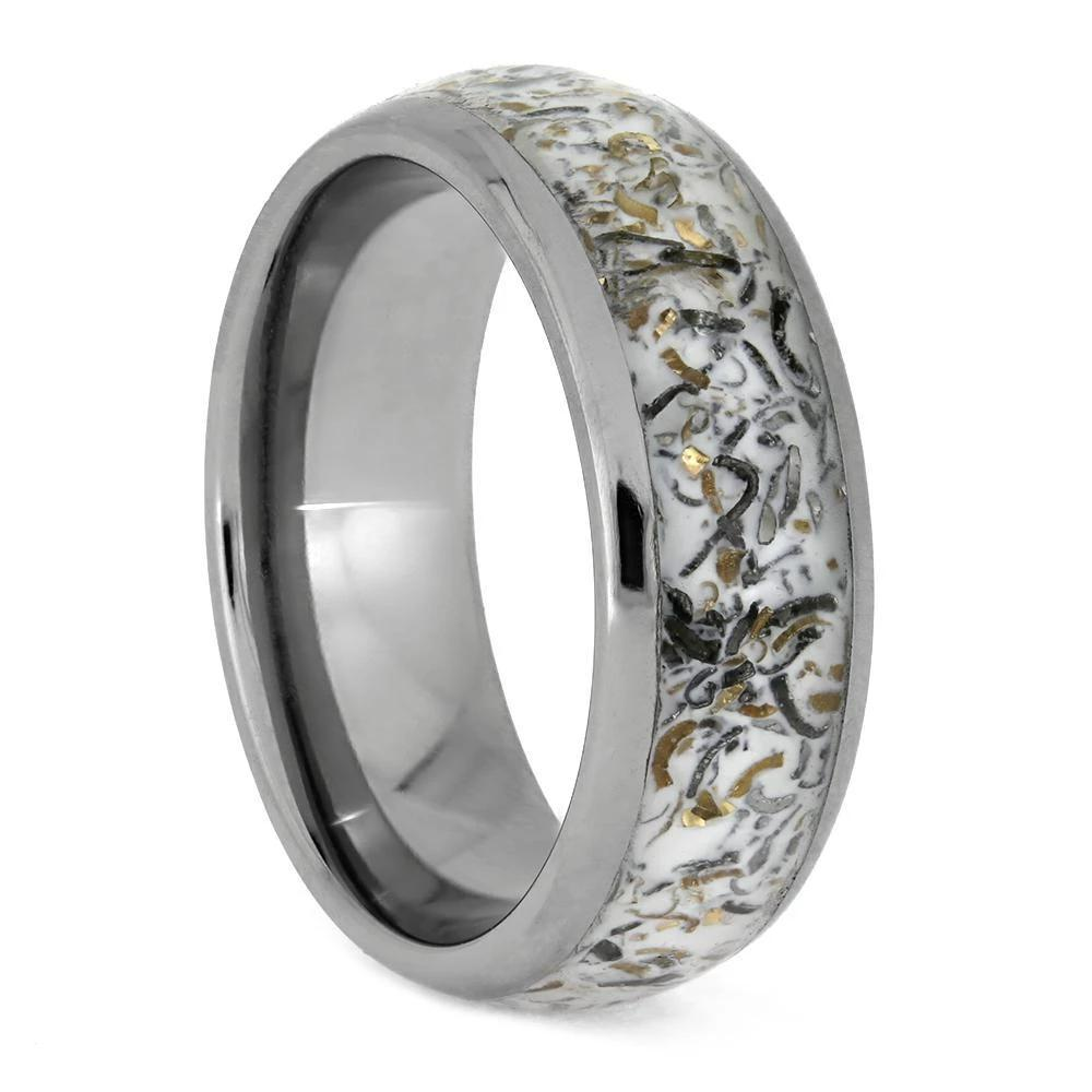 Round White Stardust Wedding Band in Titanium Sleeve