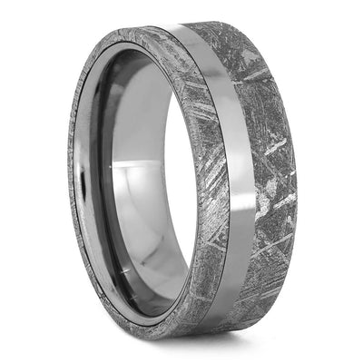 Men's Meteorite Wedding Band with Titanium Pinstripe-3748 - Jewelry by Johan