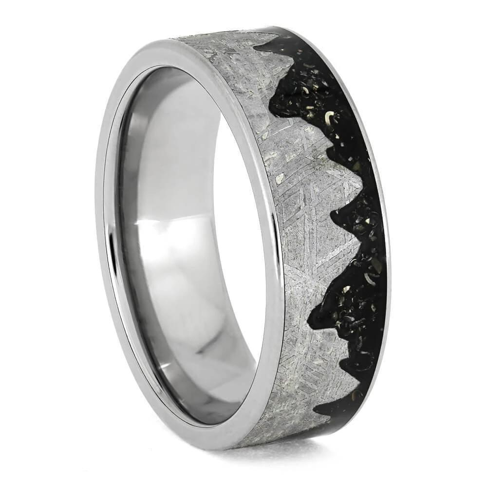 Starry Night Sky Ring with Meteorite and Stardust Mountain Range