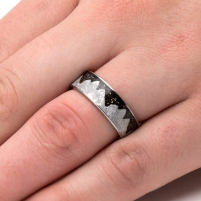 Meteorite Moonscape Ring With Black Stardust™, Unique Men's Wedding Band-3750 - Jewelry by Johan