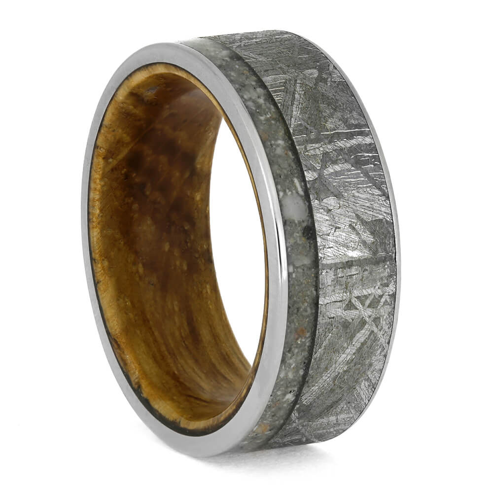 Memorial Ring With Meteorite And Whiskey Barrel Oak Sleeve