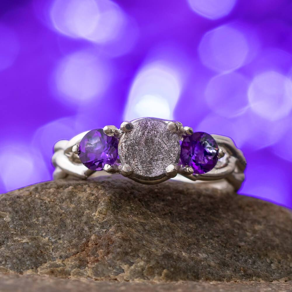 Amethyst & Meteorite Engagement Ring, In Stock-SIG3049 - Jewelry by Johan