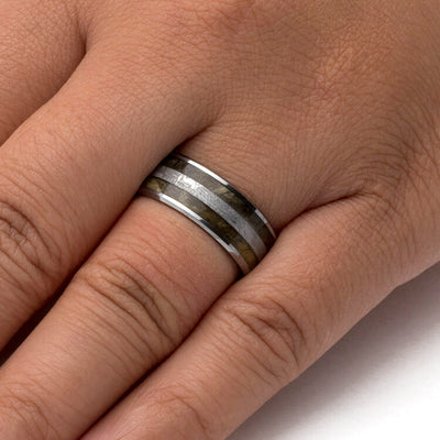 Tungsten Wedding Band With Meteorite and Buckeye Burl Wood-3760 - Jewelry by Johan