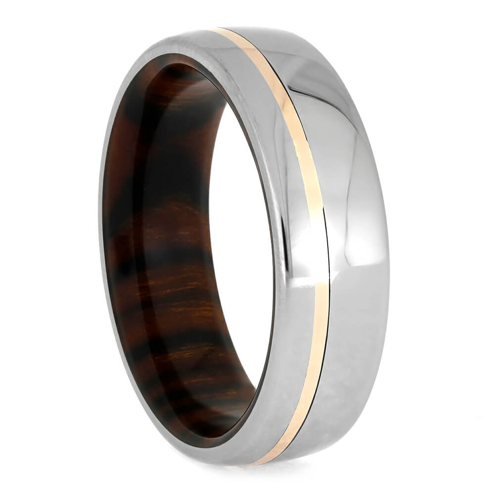 Ironwood Wedding Band, Polished Titanium Ring With Rose Gold Pinstripe-3762 - Jewelry by Johan