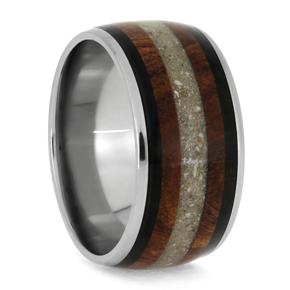 Memorial Ring With Ashes, Blackwood And Titanium Ring With Rosewood-3773
