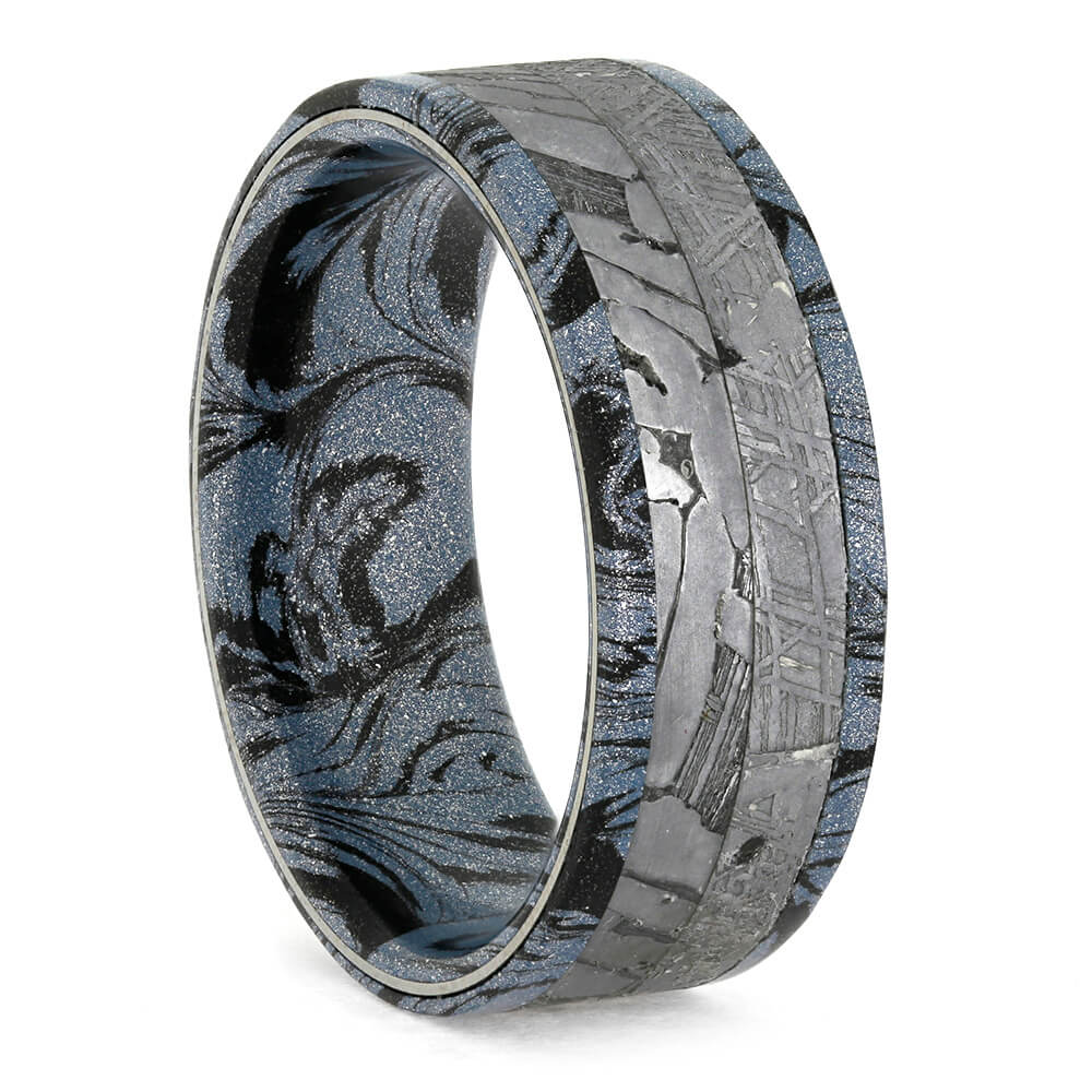 Cobaltium Mokume Men's Wedding Band, Authentic Meteorite Ring