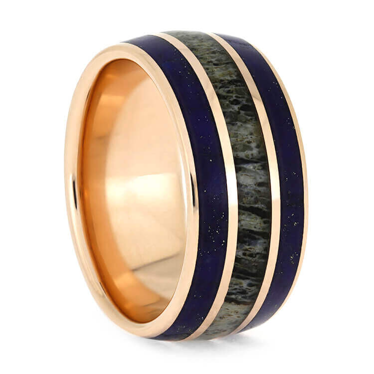 Rose Gold Wedding Band With Lapis Lazuli and Deer Antler-3782 - Jewelry by Johan