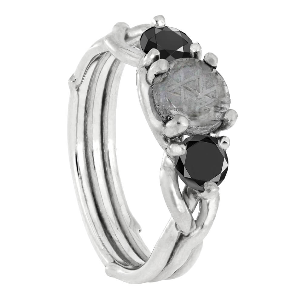 Black Diamond Engagement Ring With Meteorite Stone-3788