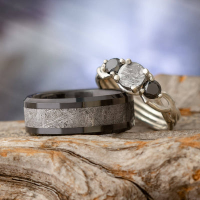 Black Diamond Meteorite Ring Set