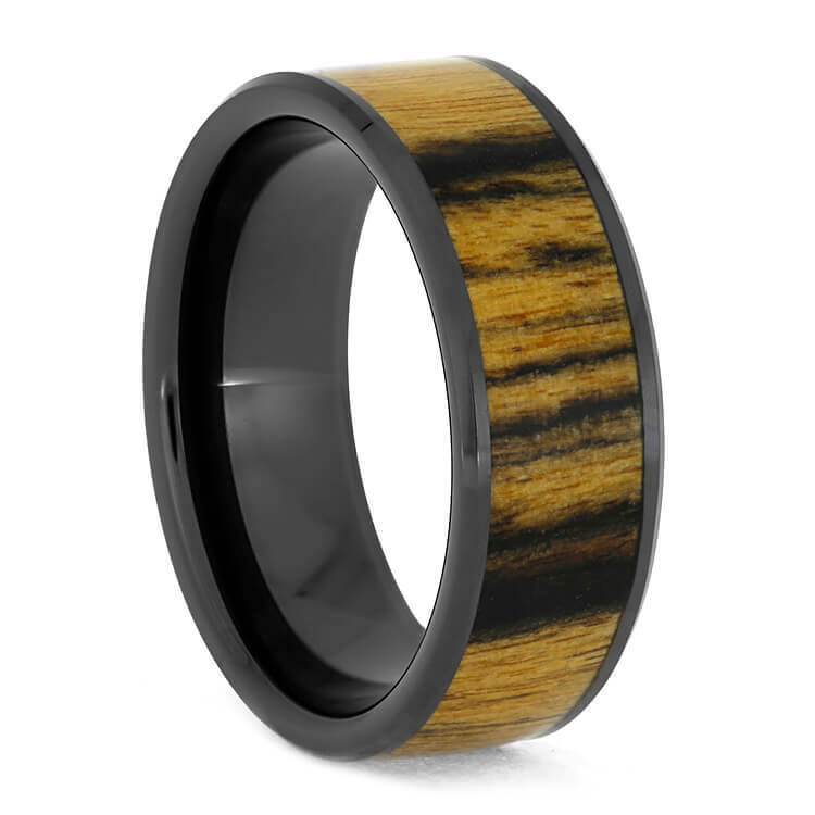 Black and White Ebony Wood Ring, Black Ceramic Wedding Band-3790 - Jewelry by Johan