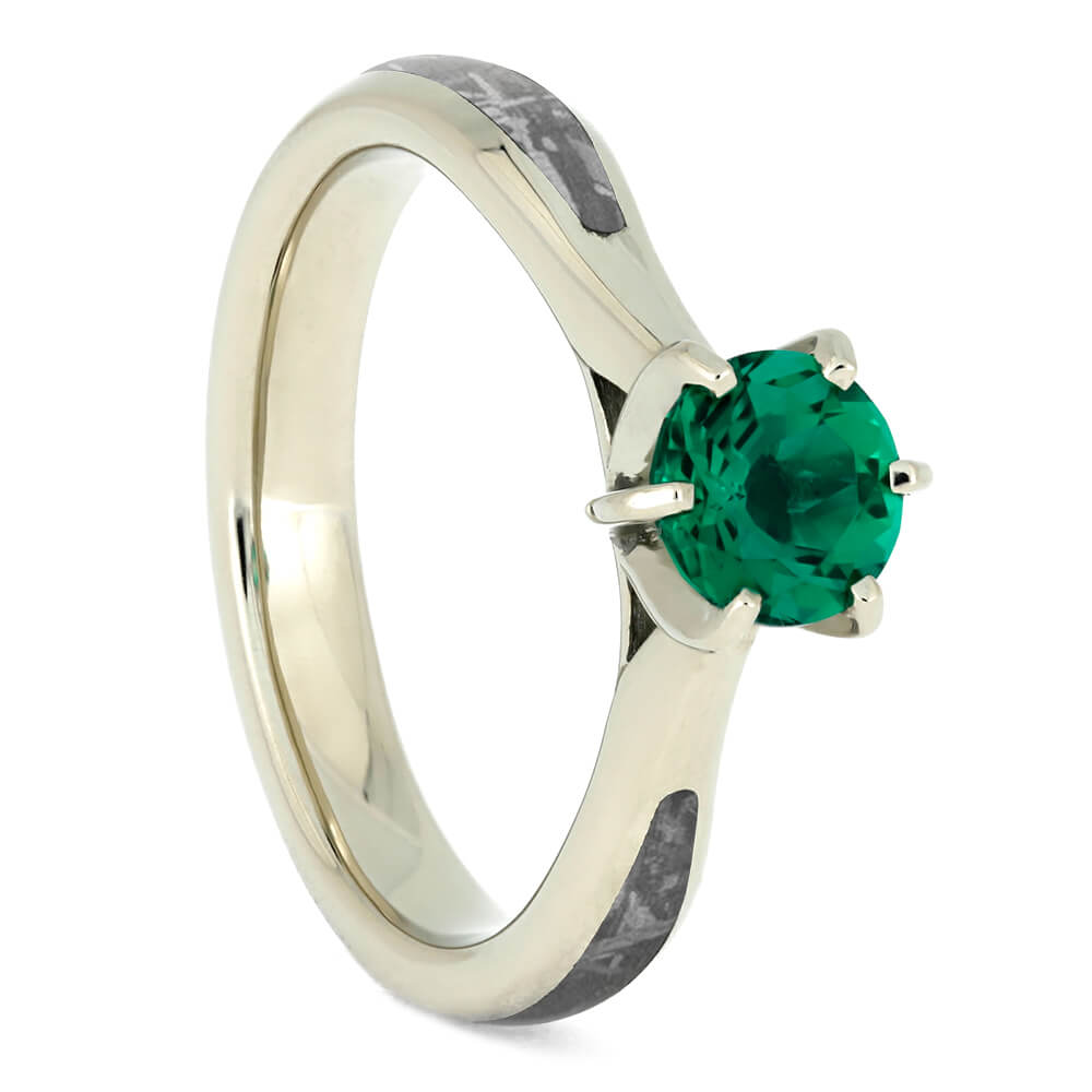 Emerald Engagement Ring, Gibeon Meteorite Ring in 14k White Gold-3791