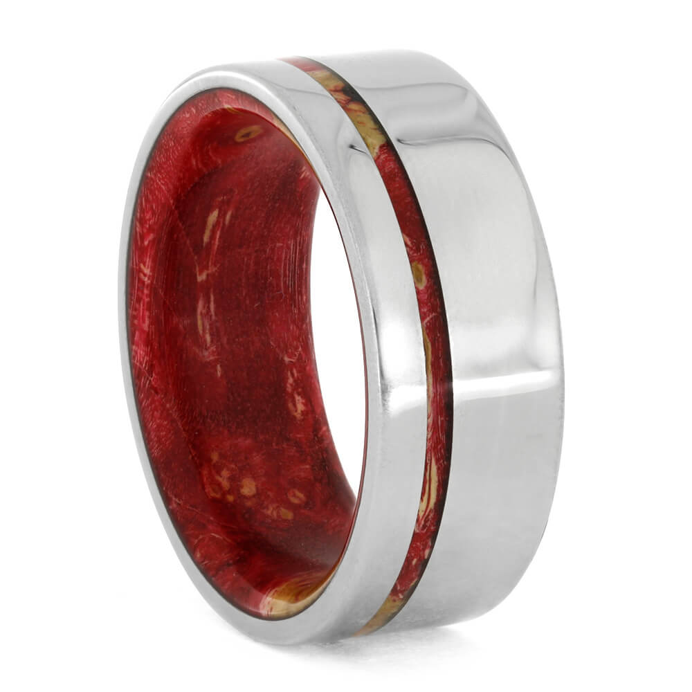 Red Box Elder Ring With Wooden Sleeve And Titanium-3823 - Jewelry by Johan