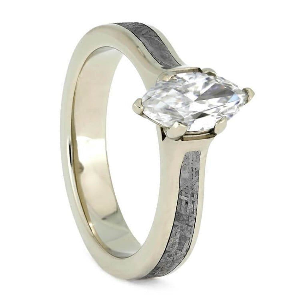Marquise Engagement Ring In White Gold With Meteorite-3827 - Jewelry by Johan