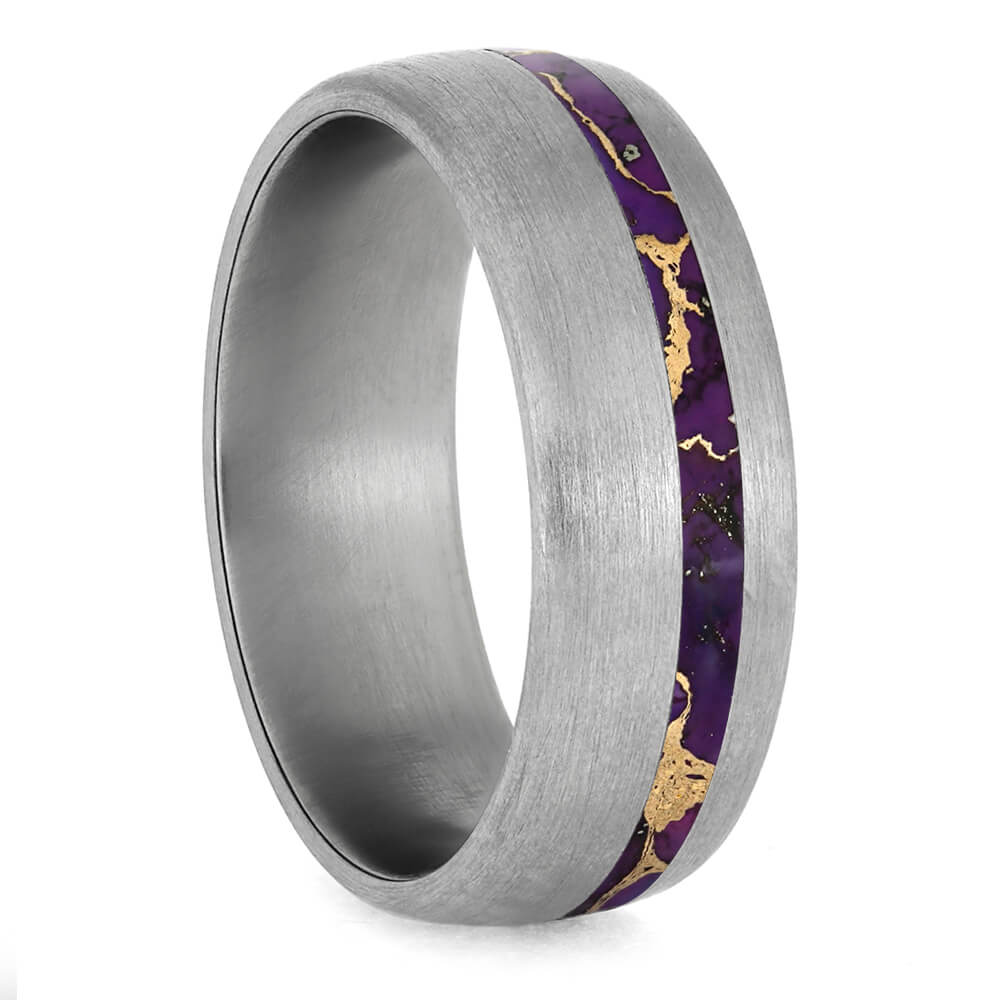 Brushed Titanium Wedding Band With Colorful Lava Turquoise Inlay-3829