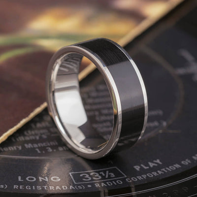 Vinyl Record Ring, Titanium Wedding Band With Vinyl LP Inlay-3838 - Jewelry by Johan