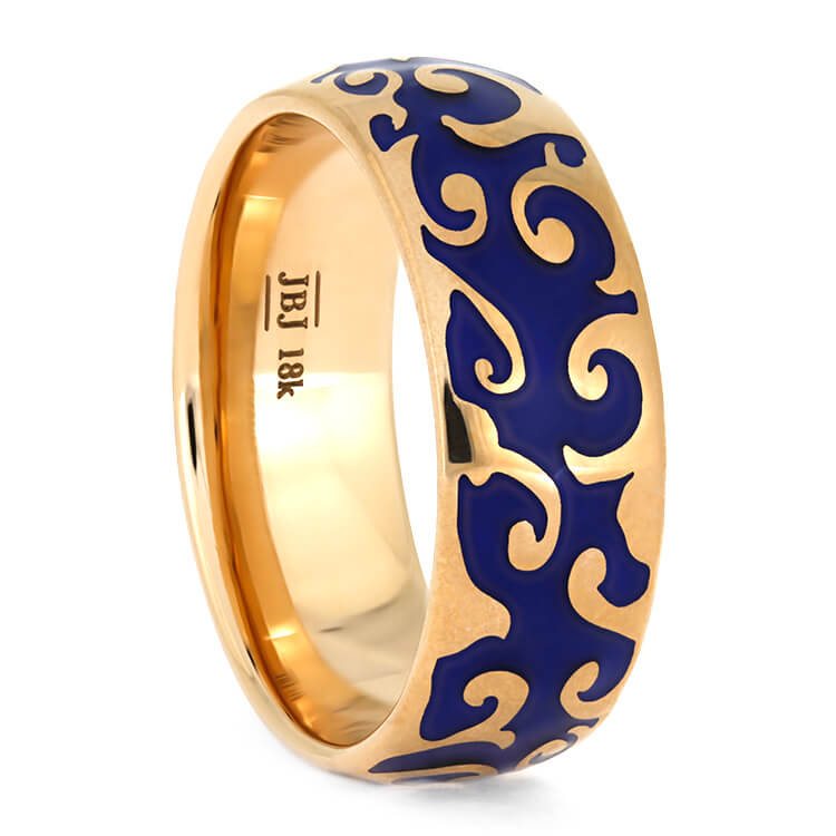 Rose Gold Ring With Intricate Blue Enamel Decoration-3843