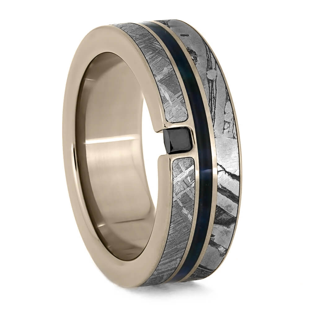 Men's Wedding Band With Blue Wood, Black Diamond and Meteorite-3846 - Jewelry by Johan