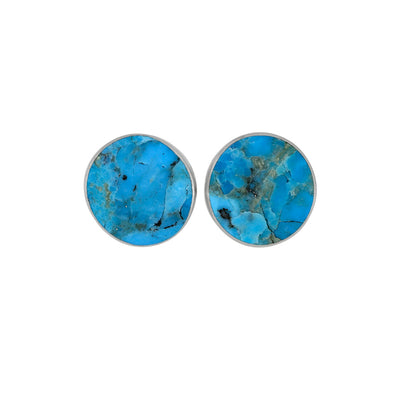 Tiny, Round Turquoise Stud Earrings-3854 - Jewelry by Johan