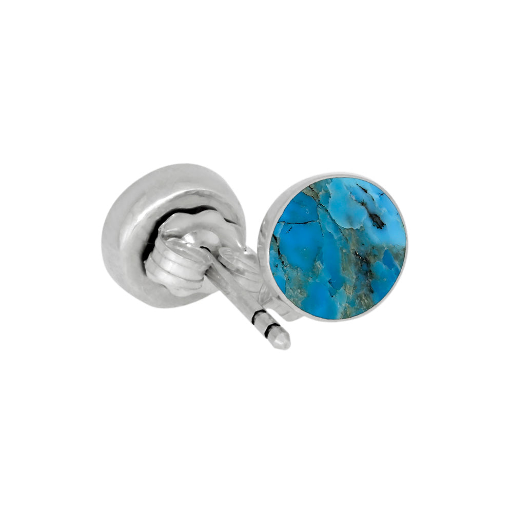Turquoise Stud Earrings In Sterling Silver-3854