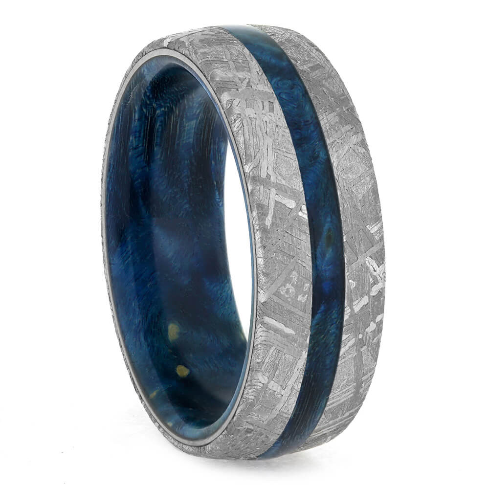 meteorite ring with blue wood sleeve showing