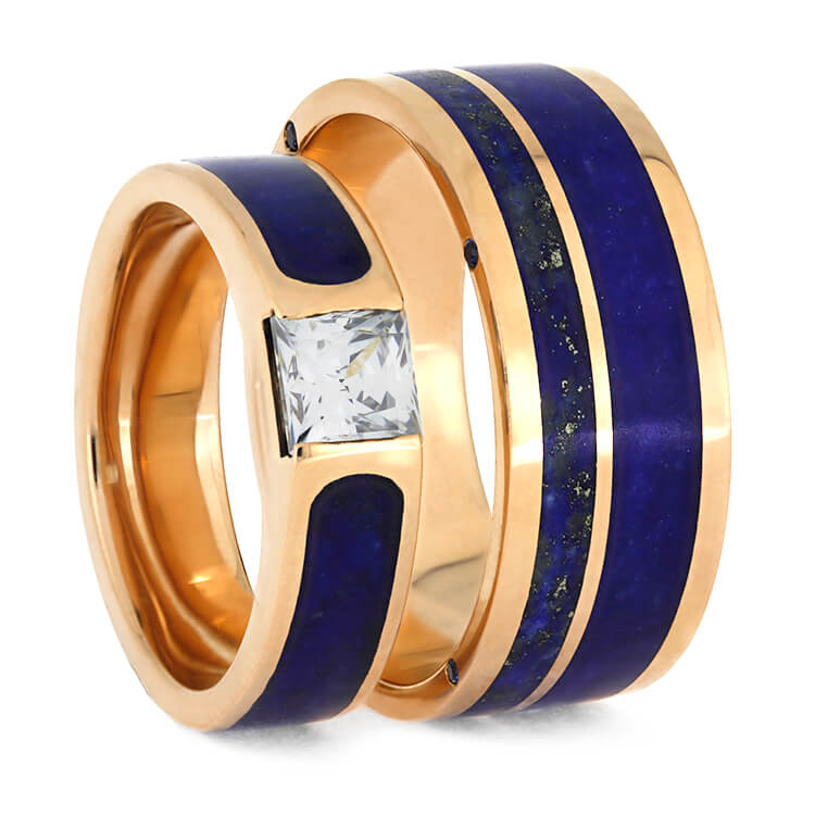 Rose Gold Wedding Ring Set With Lapis Lazuli, Blue Rings-3860 - Jewelry by Johan