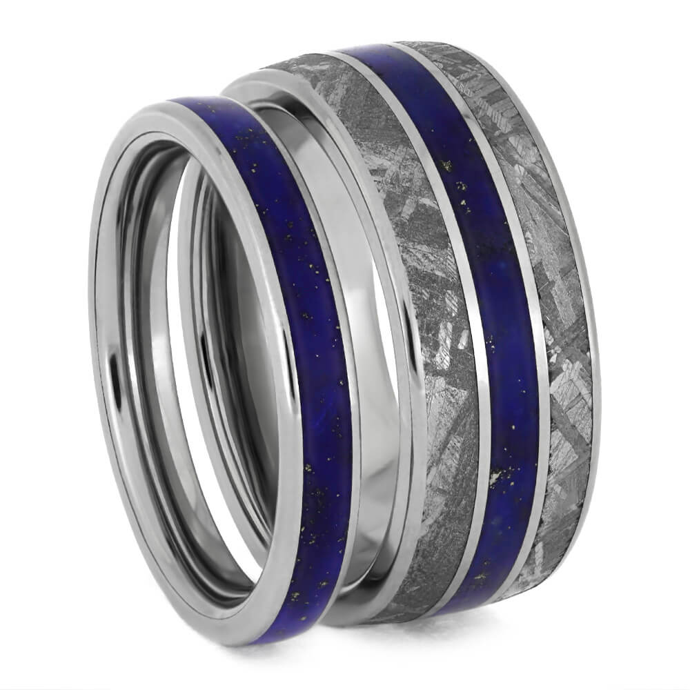 Lapis Lazuli Wedding Band Set, Titanium Rings With Gibeon Meteorite-3865